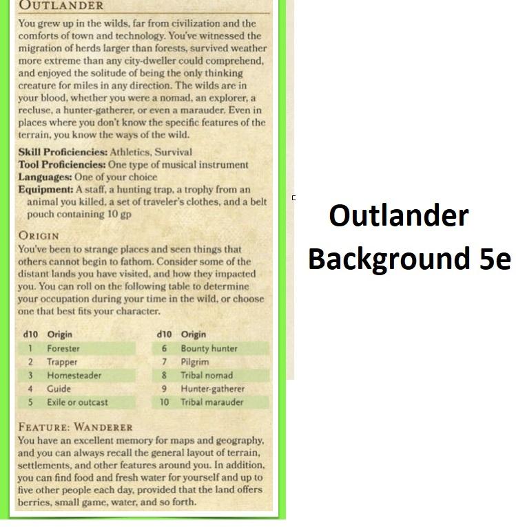 outlander background 5e dnd
